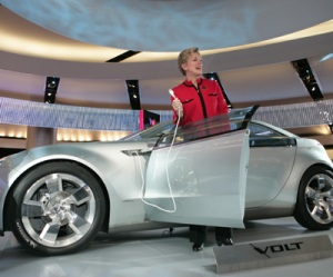 Governor Granholm with the Chevrolet Volt Electric Concept Vehic